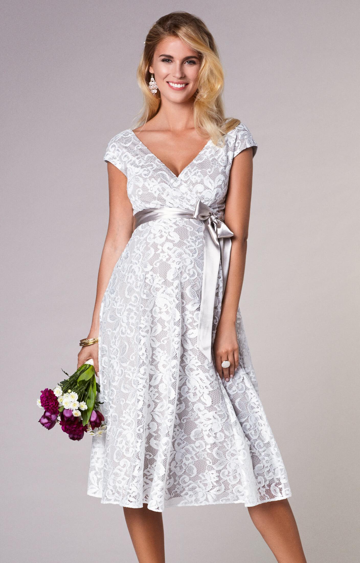 Orla Maternity Wedding Lace Dress Oyster Cream Maternity