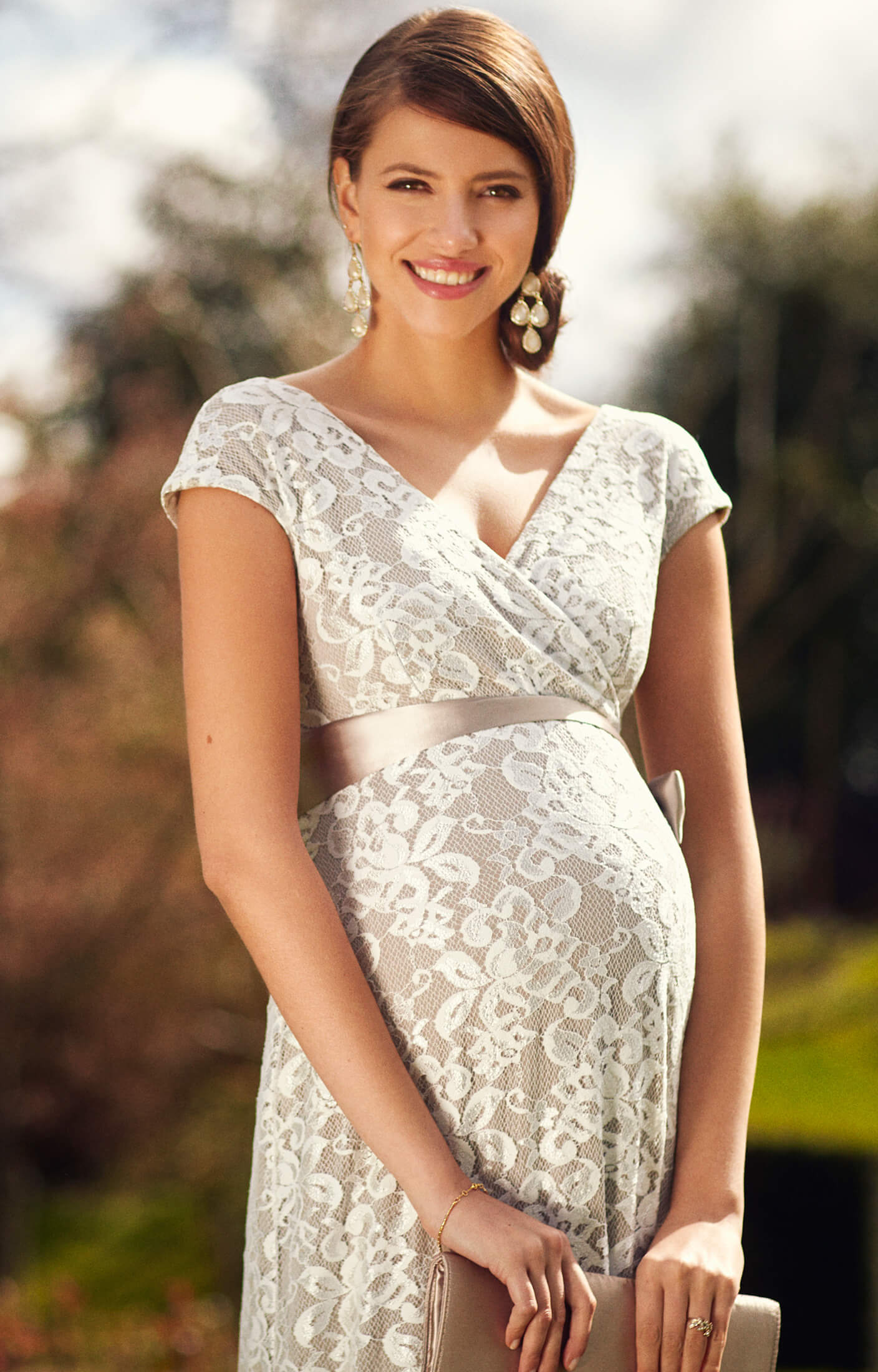 Orla Maternity Wedding Lace Gown Oyster Cream Maternity