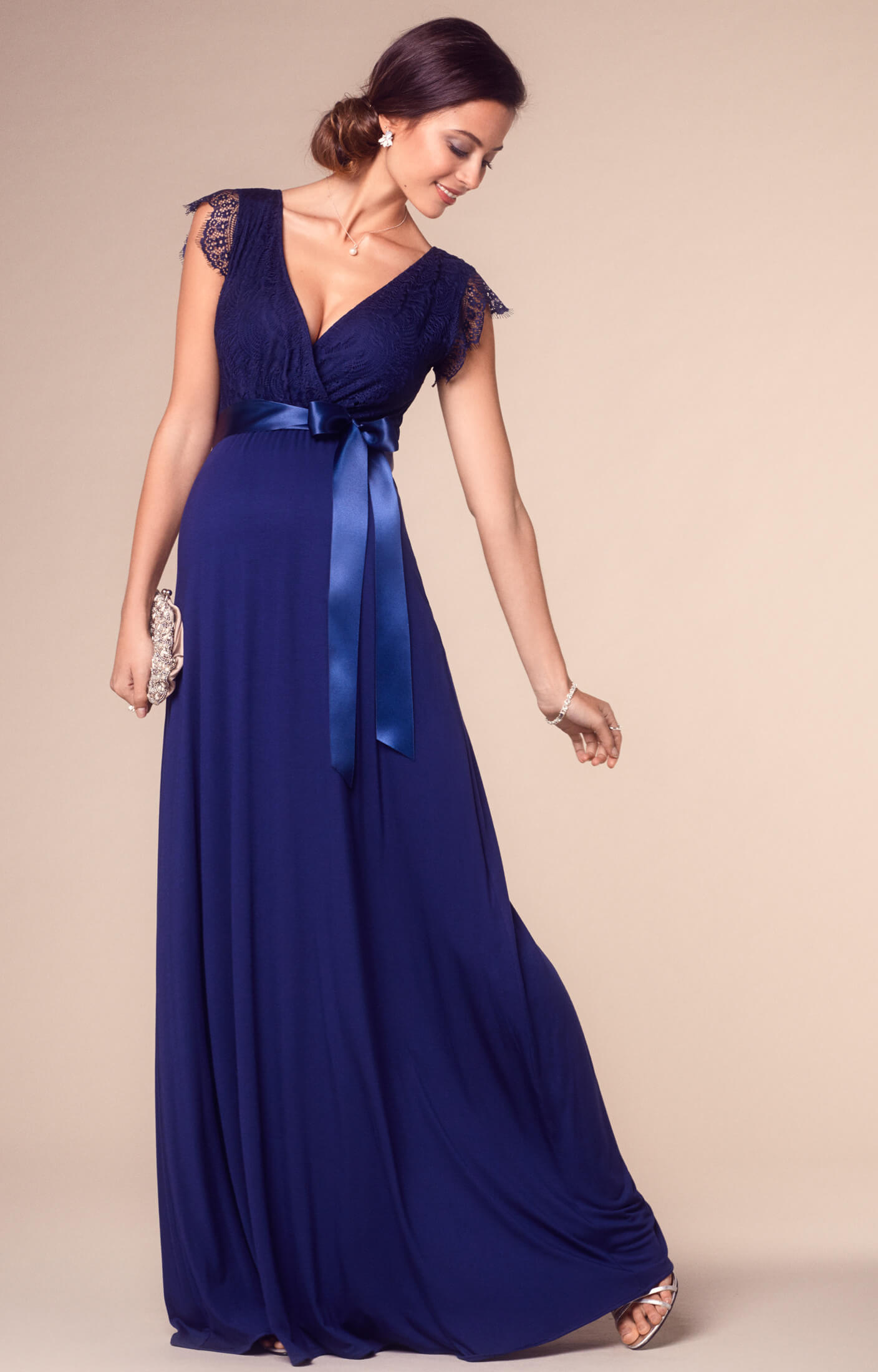 rosa maternity gown long indigo blue maternity wedding
