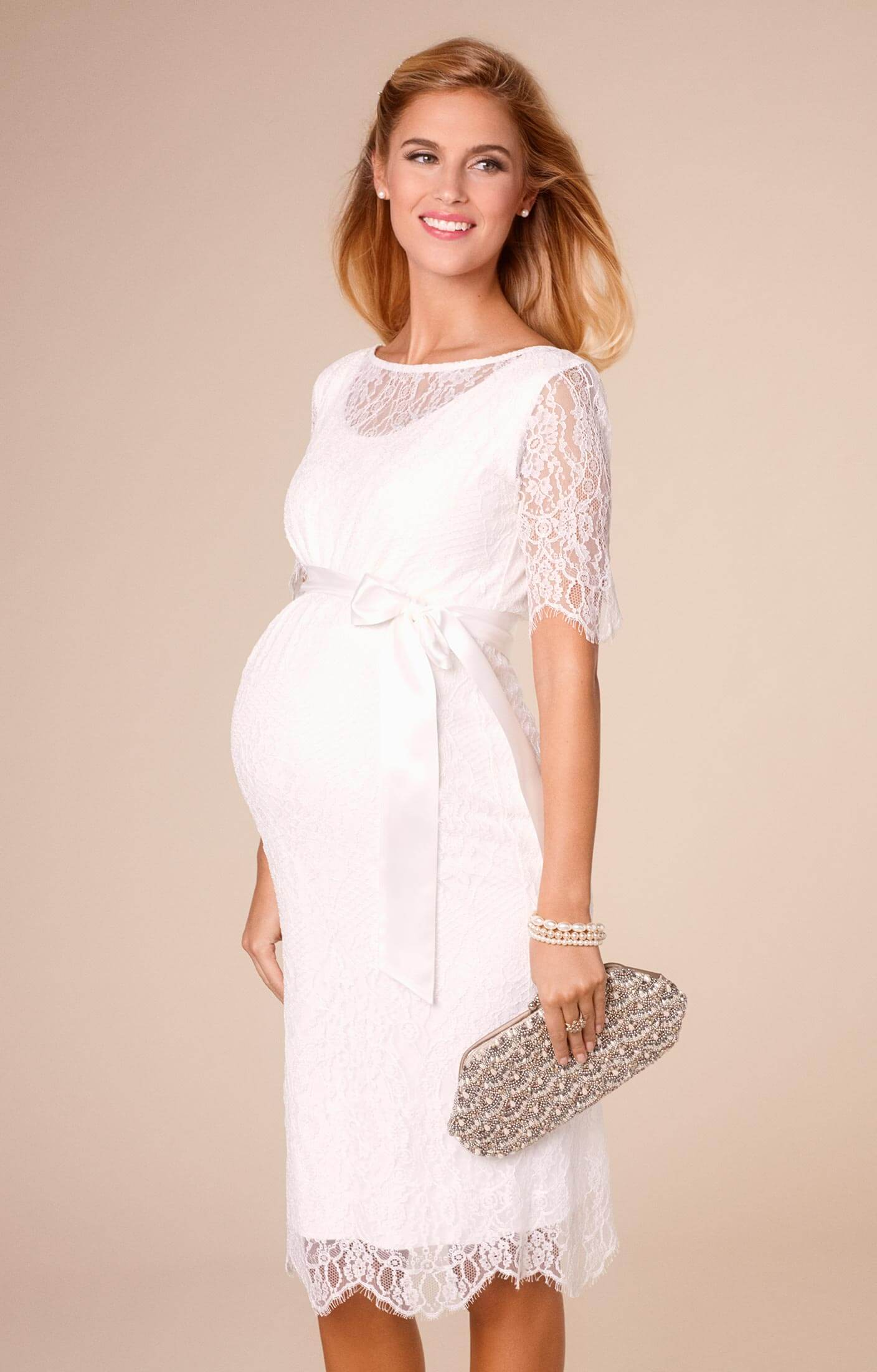 Starla maternity wedding dress short ivory maternity for Wedding guest pregnancy dresses