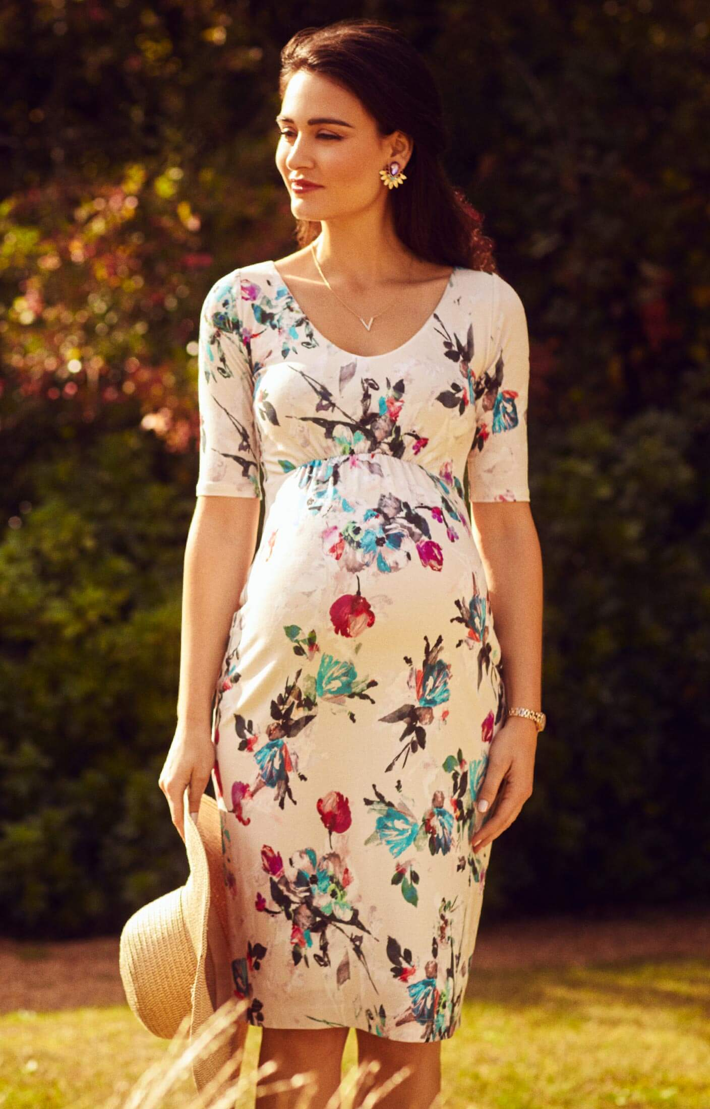 Tilly maternity shift dress painterly floral maternity for Maternity guest wedding dresses
