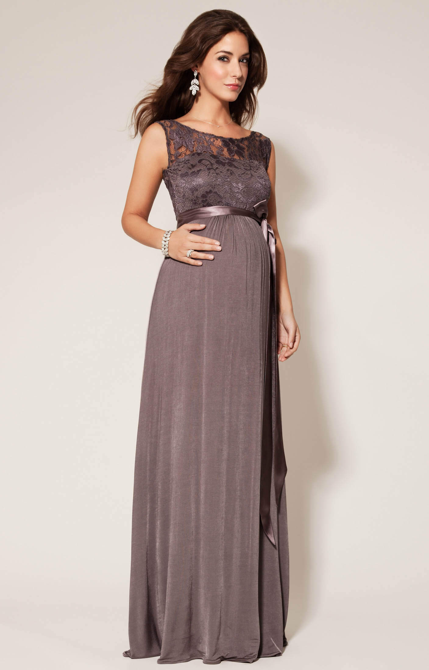 Valencia Maternity Gown Long Charcoal - Maternity Wedding Dresses ...