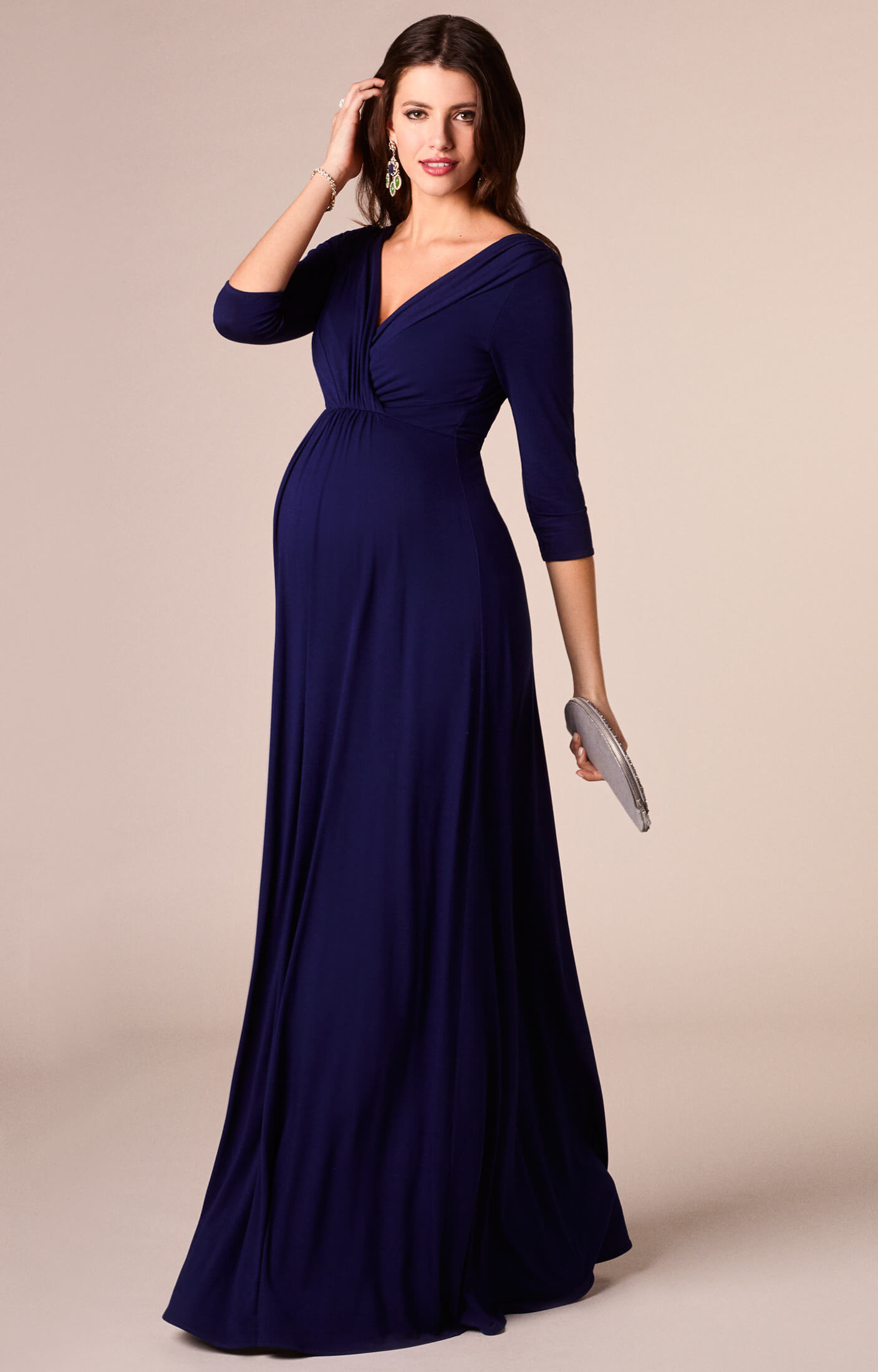 Willow maternity gown long eclipse blue maternity for Pregnancy dress for wedding