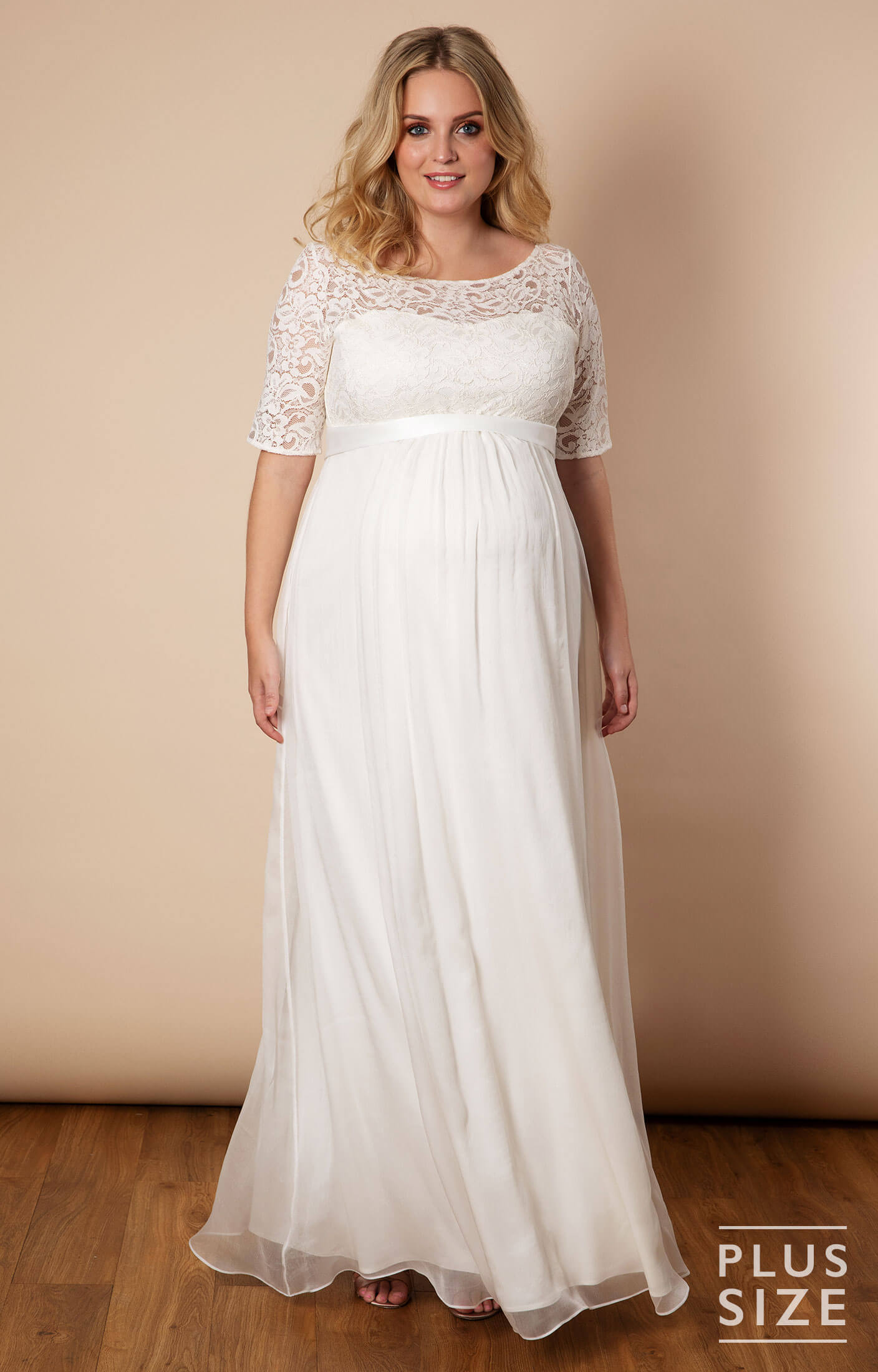 Alaska Plus Size Maternity Silk Chiffon Wedding Gown - Maternity Wedding  Dresses, Evening Wear and Party Clothes by Tiffany Rose