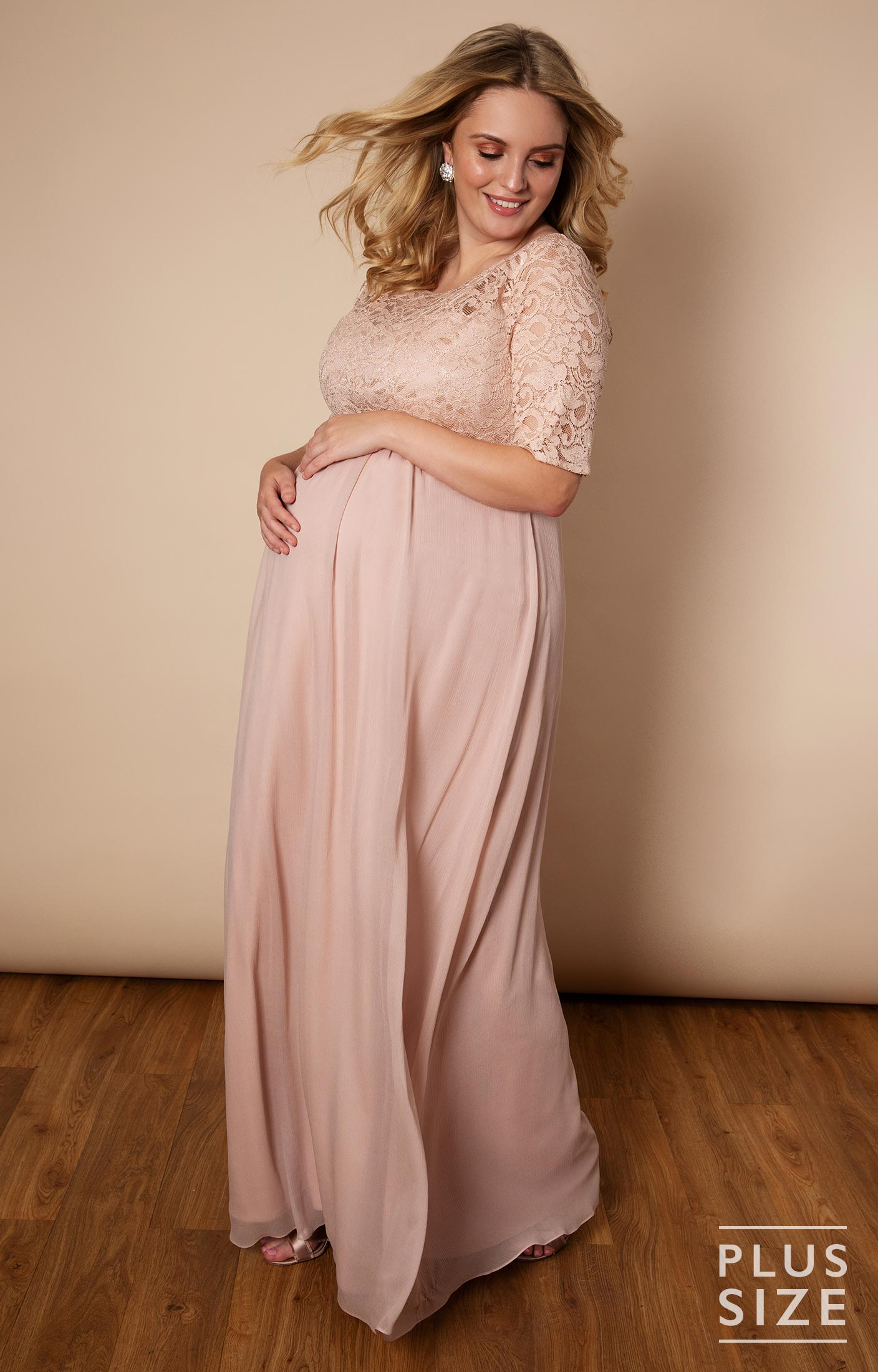 Alaska Plus Size Maternity Chiffon Wedding Gown - Maternity Wedding  Dresses, Evening Wear and Party Clothes by Tiffany Rose