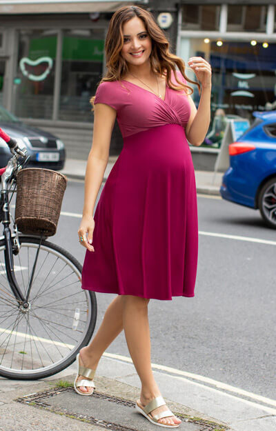 Alessandra Maternity Dress Short Rosey Red by Tiffany Rose