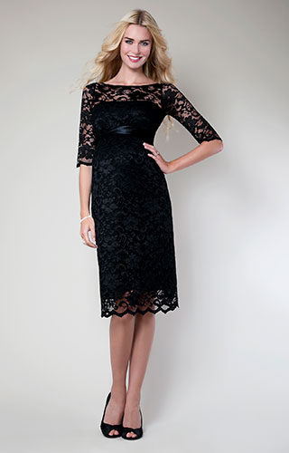 Amelia Lace Maternity Dress Short (Black) by Tiffany Rose