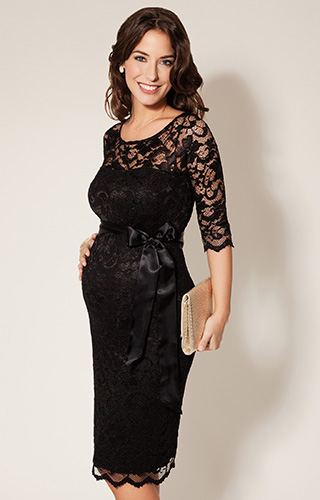 Amelia Lace Maternity Dress Short (Black)