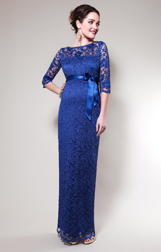 Amelia Lace Maternity Dress Long (Windsor Blue) by Tiffany Rose