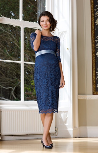 Amelia Lace Maternity Dress Short (Windsor Blue)