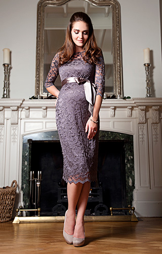 Amelia Lace Maternity Dress Short (Charcoal) by Tiffany Rose