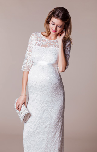Amelia Lace Maternity Wedding Dress Long (Ivory) by Tiffany Rose