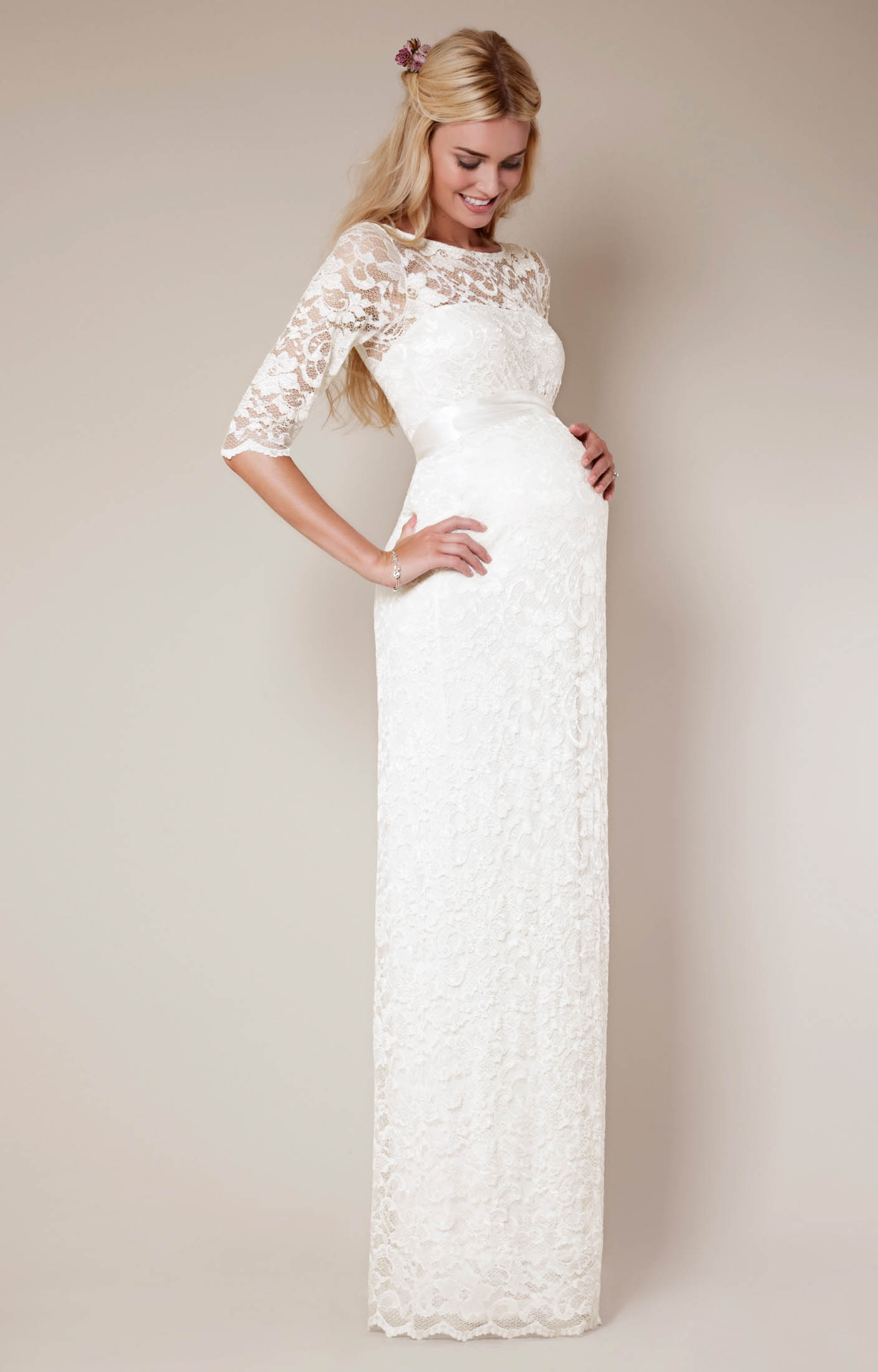Amelia Lace Maternity Wedding Dress Long Ivory Maternity Wedding