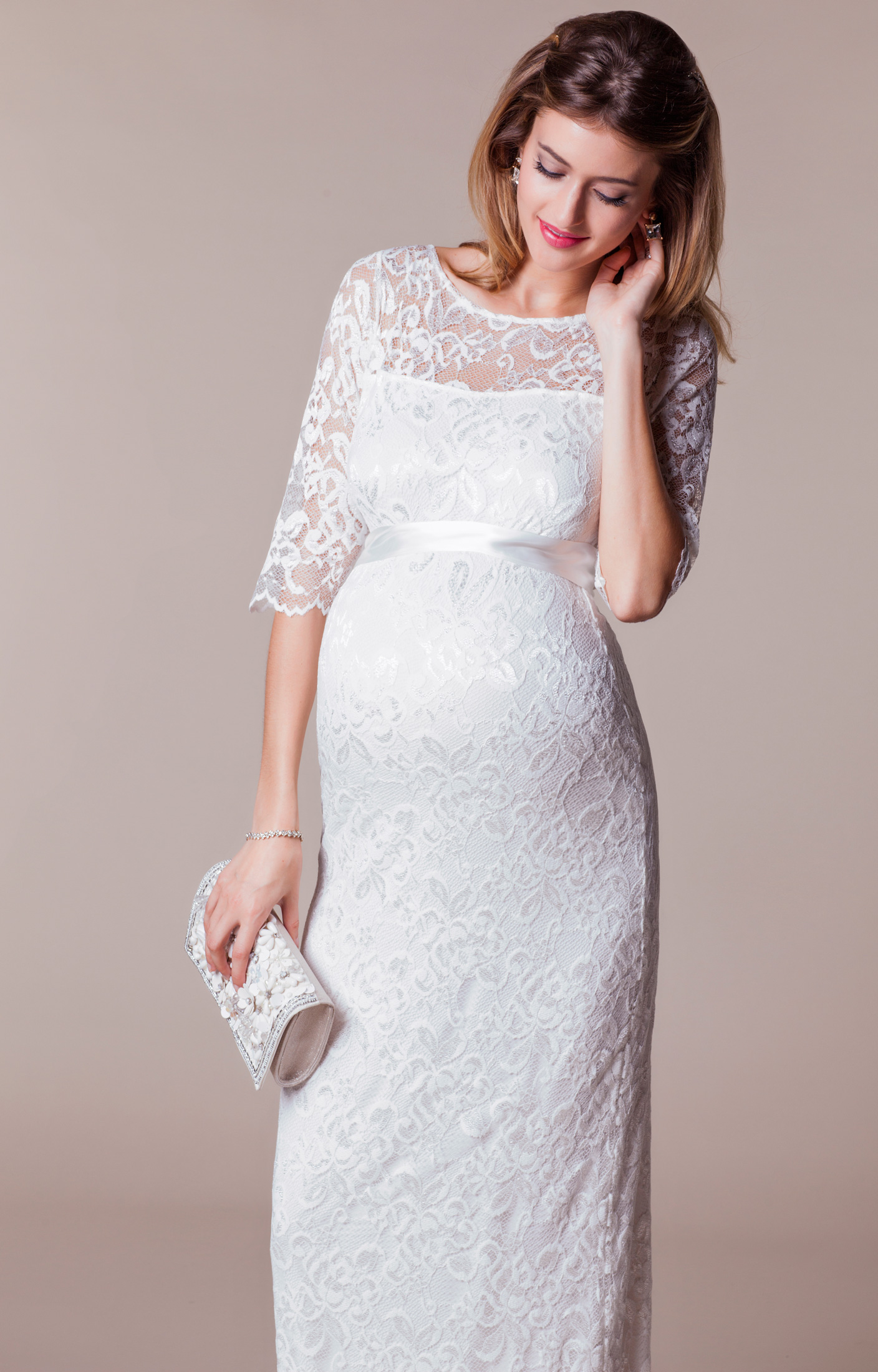 Amelia Lace Maternity Wedding Dress Long (Ivory) - Maternity Wedding Dresses dca9f32e5