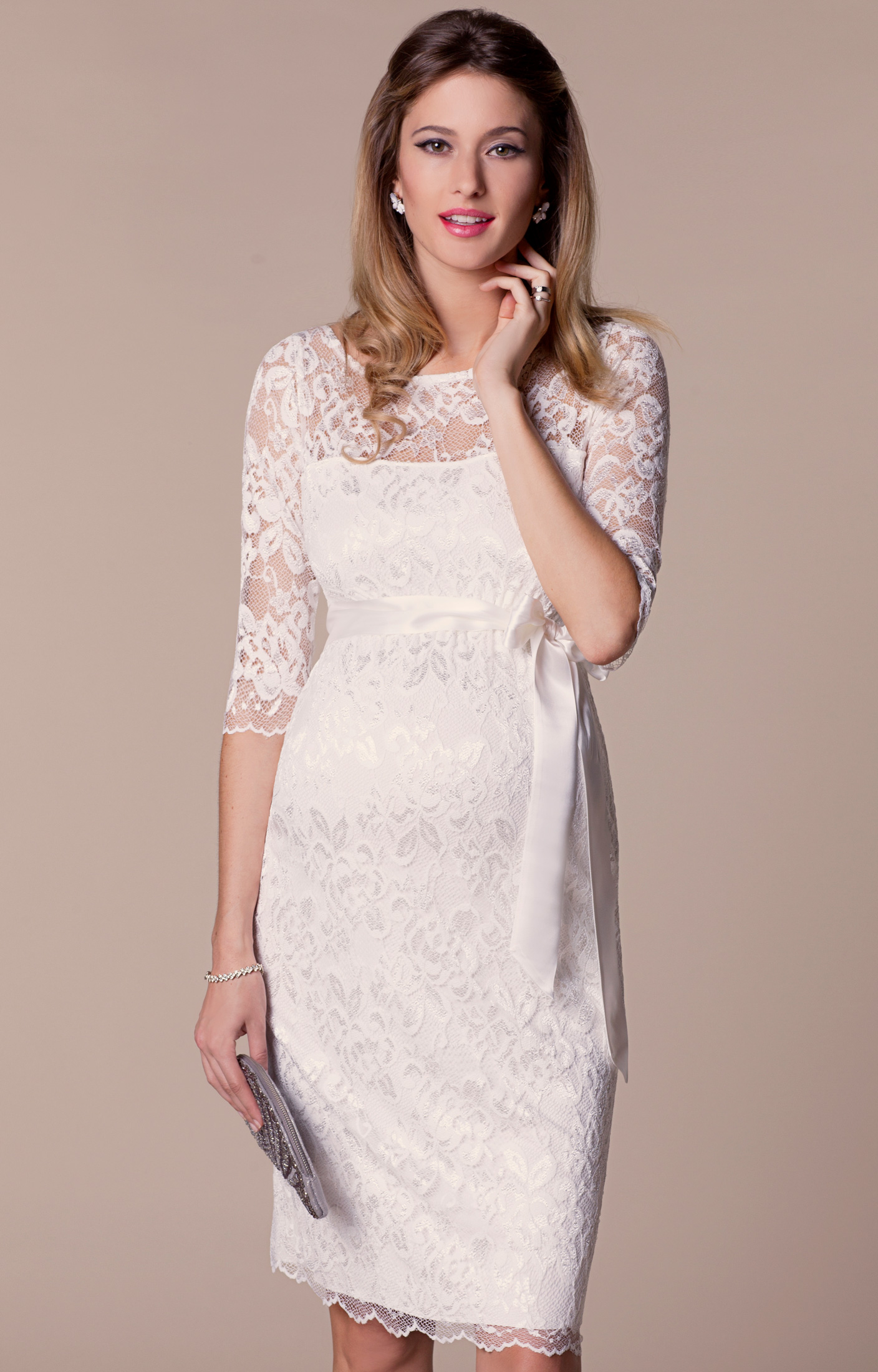 Amelia Lace Maternity Wedding Dress Short Ivory