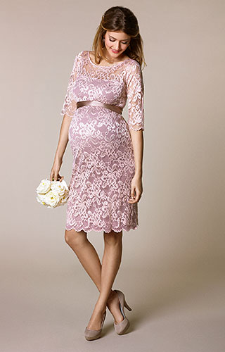 Amelia Lace Maternity Dress Short (Vintage Rose) by Tiffany Rose