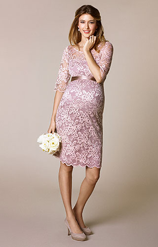 Amelia Lace Maternity Dress Short (Vintage Rose)