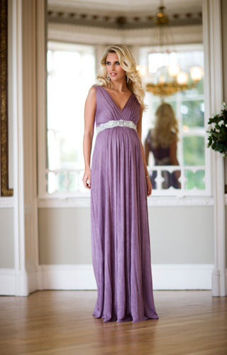 Anastasia Maternity Gown (Heather) with Diamante Sash by Tiffany Rose