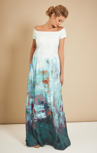 Aria Off Shoulder Maternity Gown Aquatic Ombré by Tiffany Rose