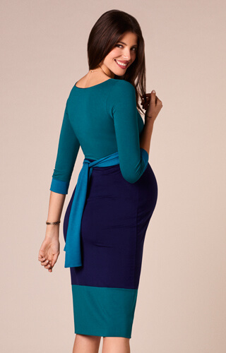 Colour Block Maternity Dress Biscay Blue by Tiffany Rose
