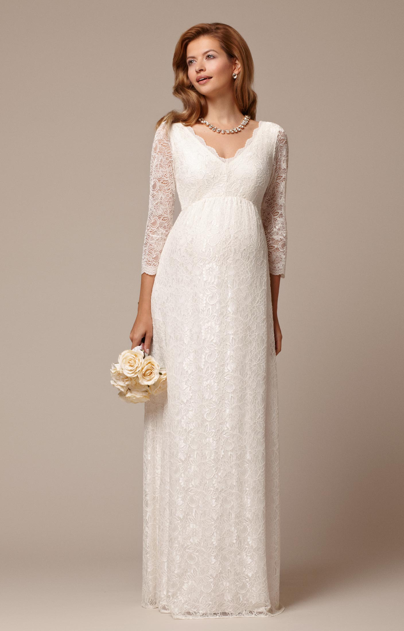 Chloe Lace Maternity Wedding Gown Ivory Maternity Wedding Dresses Evening Wear And Party Clothes By Tiffany Rose Dk