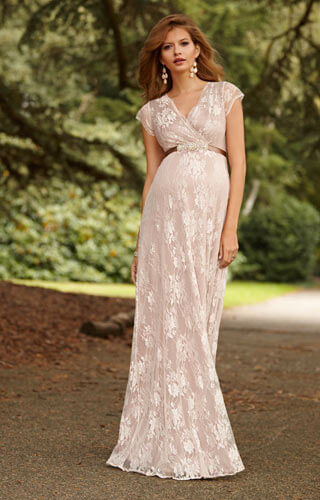 Eden Langes Umstandsabendkleid in Blush by Tiffany Rose