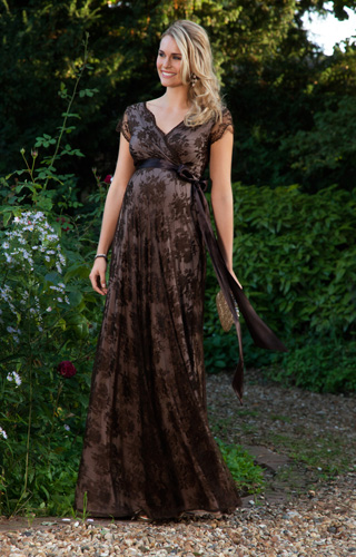 Eden Maternity Gown Long Chocolate