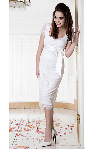 Flutter Maternity Dress Ivory