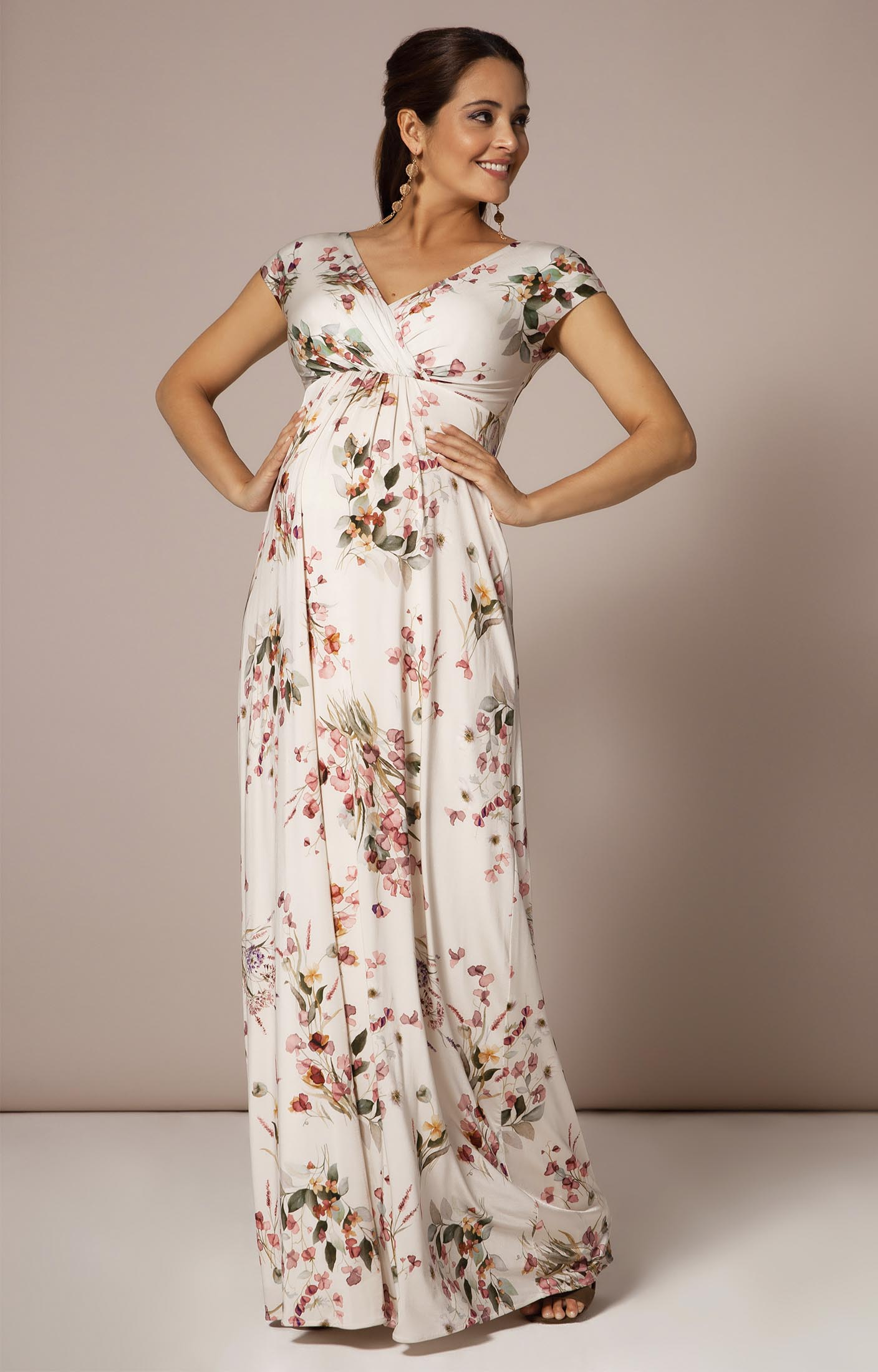Francesca Maxi Maternity Dress Petal Pink Floral Maternity Wedding Dresses Evening Wear And Party Clothes By Tiffany Rose Us