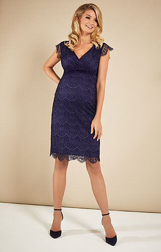 Imogen Maternity Shift Dress Dusky Blue by Tiffany Rose