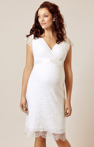 Imogen Maternity Wedding Shift Dress Ivory White