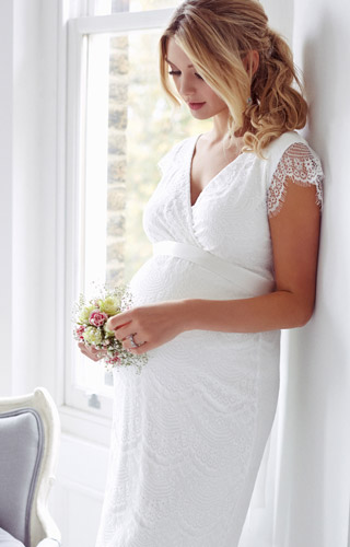Imogen Maternity Wedding Shift Dress Ivory White by Tiffany Rose