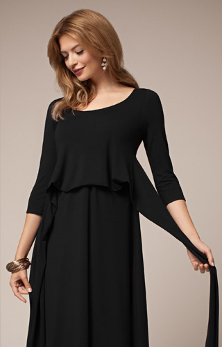 Naomi Maternity Nursing Dress Black by Tiffany Rose
