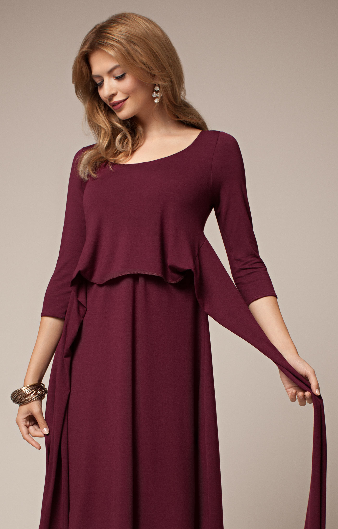 Naomi Maternity Nursing Dress Mulberry - Maternity Wedding Trends