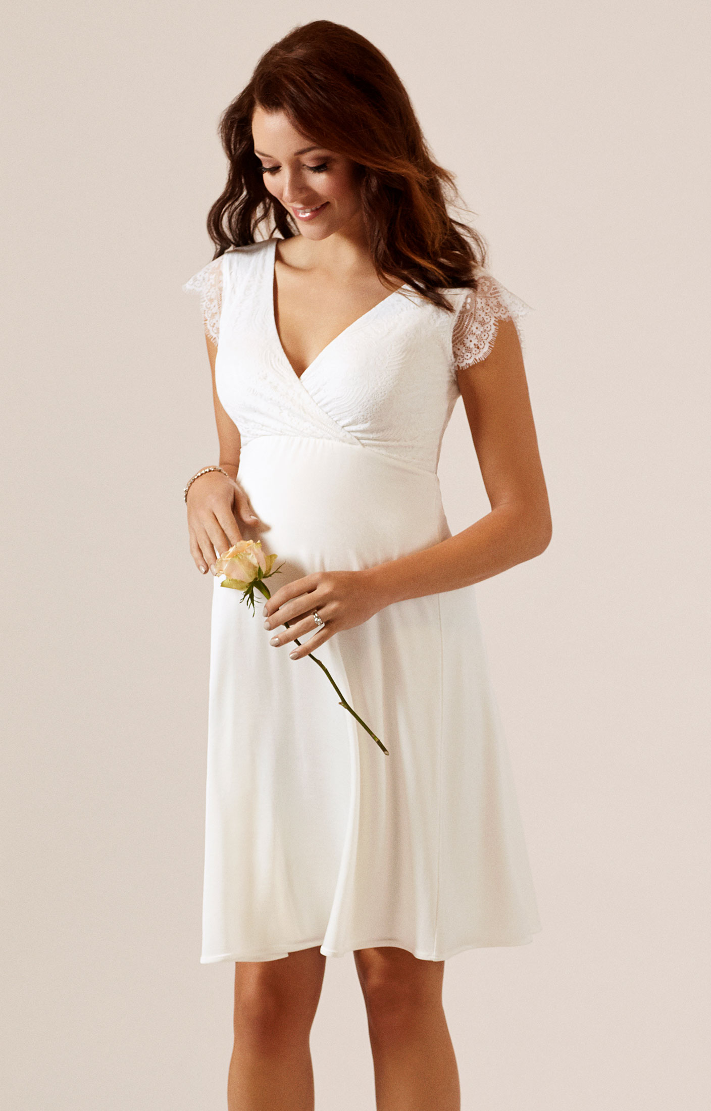 Nina Umstandsmoden Hochzeitskleid in Elfenbein ...