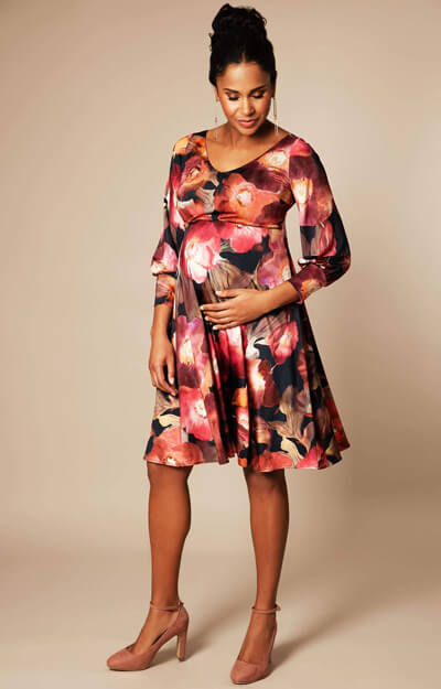 Pixie Maternity Dress short Dark Blooms by Tiffany Rose
