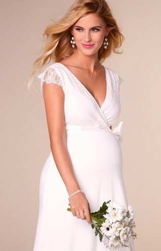 Rosa Maternity Wedding Gown Long Ivory White by Tiffany Rose