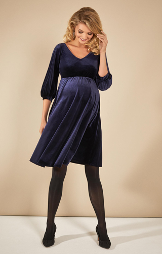 Roxie Velvet Maternity Dress Sapphire Blue by Tiffany Rose