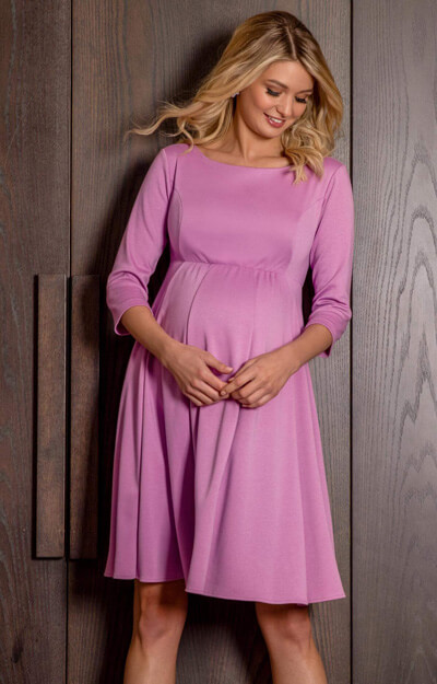 Sienna Short Maternity Dress With Sleeves In Lilac Pink by Tiffany Rose